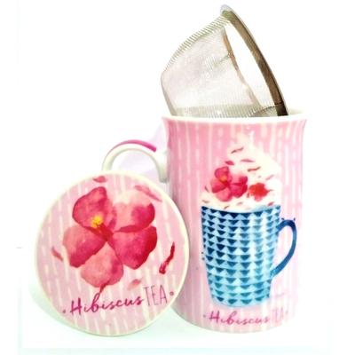 """Mug avec filtre et couvercle """"Tea"""" - Thé hibiscus"""