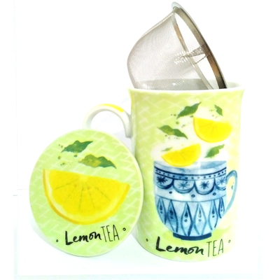 """Mug avec filtre et couvercle """"Tea"""" - Thé citron"""