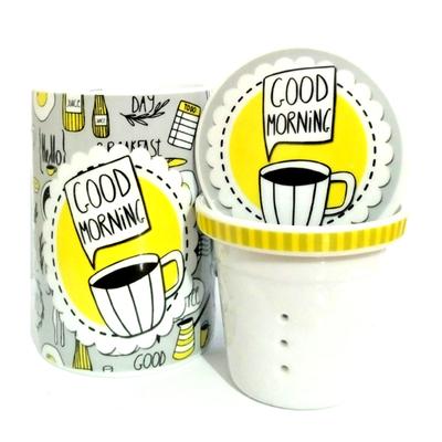 """Mug avec filtre et couvercle """"Jaune"""" : Bonjour"""
