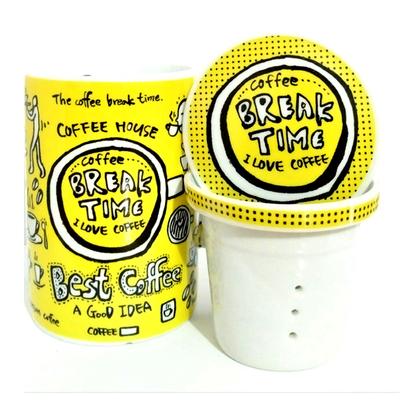 """Mug avec filtre et couvercle """"Jaune"""" : Pause"""