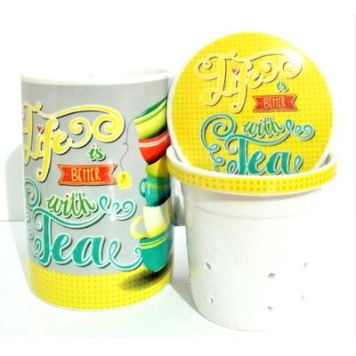 """Mug avec filtre et couvercle """"Jaune"""" : La Vie est meilleure avec du Thé"""
