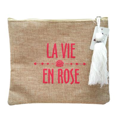 "Pochette en ""Toile de Jute"" : La Vie en Rose"