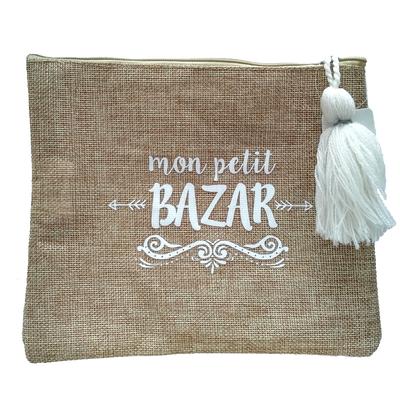 """Pochette en """"Toile de Jute"""" : Mon petit bazar"""