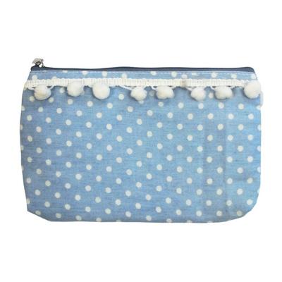 Pochette Vintage avec Pompon : Bleu clair