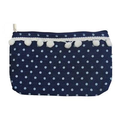 Pochette Vintage avec Pompon : Bleu jean