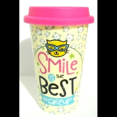 Mug de Voyage coloré : Le Sourire est le meilleur maquillage