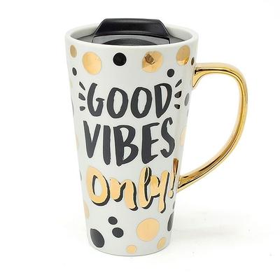 Mug de Voyage Gold Édition : Good Vibes Only - Bonnes vibrations uniquement !