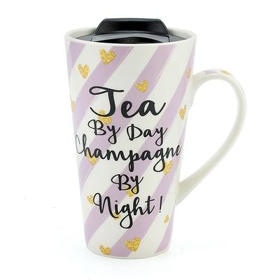 Mug de Voyage Design : Thé le Jour... Champagne la Nuit !