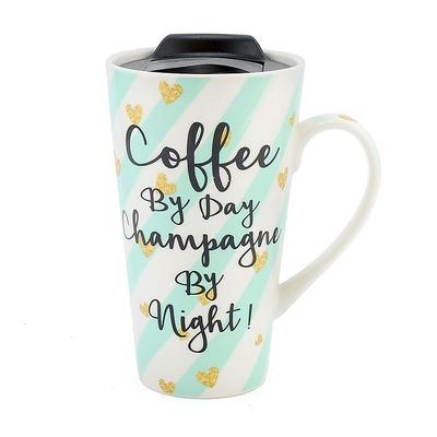 Mug de Voyage Design : Café le Jour... Champagne la Nuit !