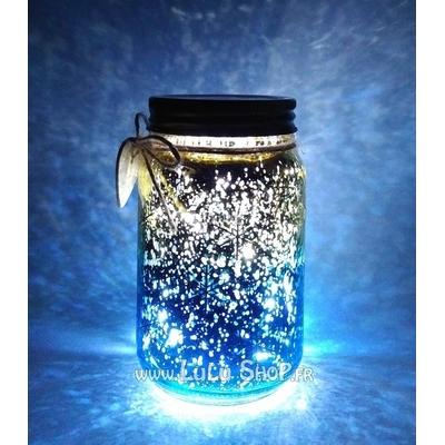 Bocal Luciole décor avec flocons de neige : doré Bleu