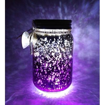 Bocal Luciole décor avec flocons de neige : doré violet