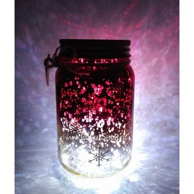 Bocal Luciole décor avec flocons de neige : rouge doré