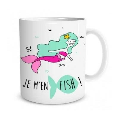 """Mug """"Sirène"""" : Je m'en fish"""