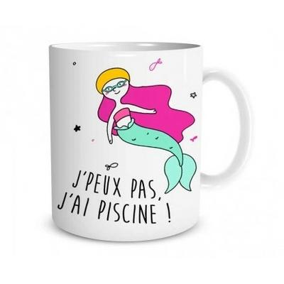 """Mug """"Sirène"""" : J'peux pas, j'ai piscine"""