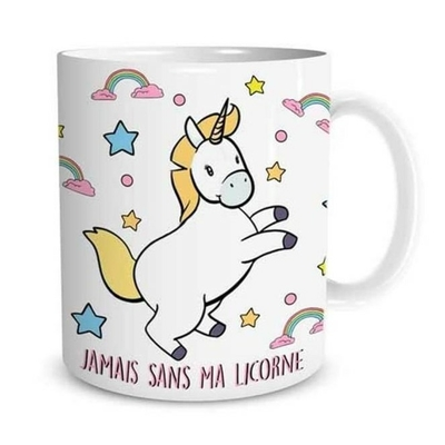 "Mug ""Licorne"" : Jamais sans ma licorne"