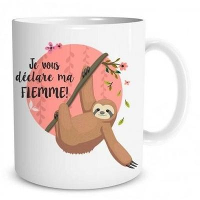 """Mug """"Paresseux"""" : Je vous déclare ma flemme"""