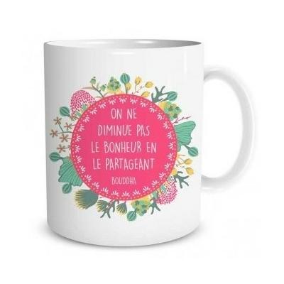 """Mug """"Bien-être"""" : On ne diminue pas le bonheur en le partageant"""