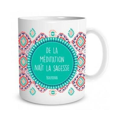 """Mug """"Bien-être"""" : De la méditation naît la sagesse"""