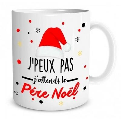 """Mug """"Noël"""" : J'peux pas j'attends le pére noël"""