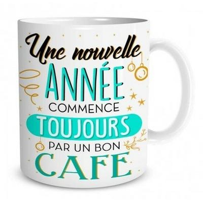 """Mug """"Bonne Année"""" : Une nouvelle année commence toujours par un bon café"""