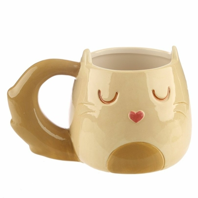 Mug Chat Kawaii 3D Caramel Beige & Brun
