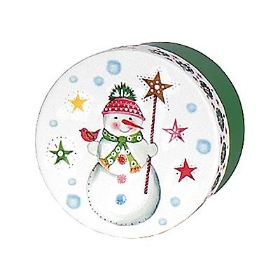 Boite cadeau ronde bonhomme de neige vert