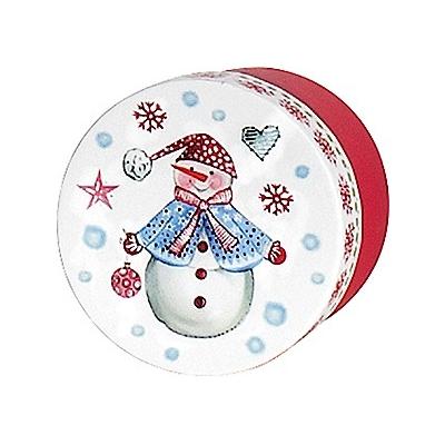 Boite cadeau ronde bonhomme de neige rouge