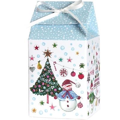 Boite cadeau pliante avec ruban de satin Bonhomme de Neige