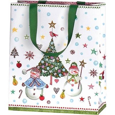 Sac cadeau de Noël avec poignée en ruban de satin vert