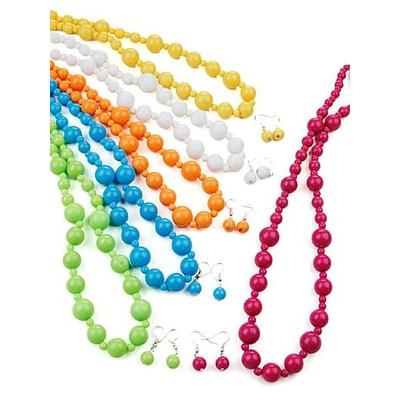 Lot de 6 parures : collier + boucle d'oreilles de couleurs différentes -x