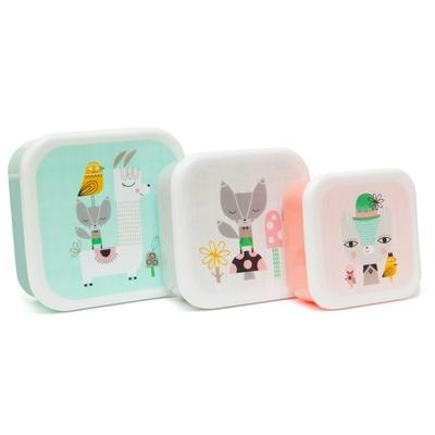 Set de 3 boîtes gigognes carrées Lama & ses amis