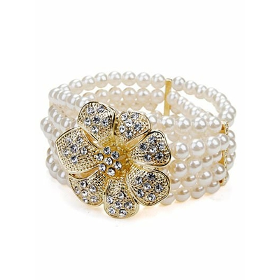 Bracelet blanc strech avec fleur