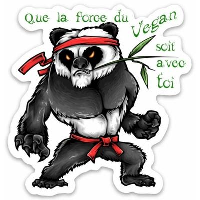 Autocollant Panda Yoda Végan - Sticker pour personaliser