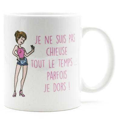 """Mug """"Texte"""" : Je ne suis pas shieuse toul le temps... parfois je dors !"""