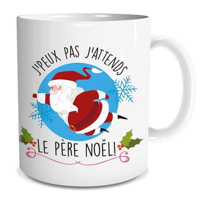 """Mug """"Noël"""" : J'peux pas j'attends le père noël!"""