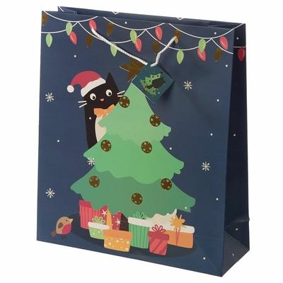 Sac Cadeau de Noël Chat - Large