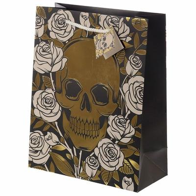 Sac Cadeau Métallique Crânes & Roses - Large