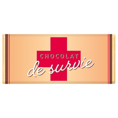 Tablette de chocolat Message : Chocolat de survie