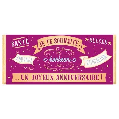 Tablette de chocolat Message : Je te souhaite un joyeux anniversaire