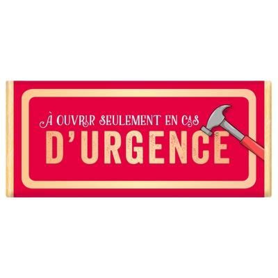 Tablette de chocolat Message : À ouvrir seulement en cas d'urgence