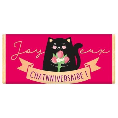 Tablette de chocolat Message : Joyeux Chatnniversaire!