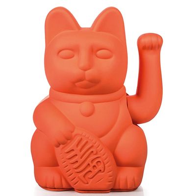 Lucky Cat - Chat Maneki Neko Corail Rose Fluo