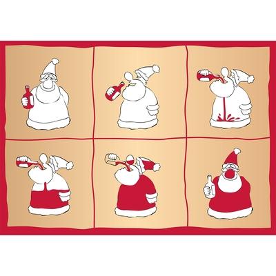 Carte Postale Noël : Le vin & le Père Noël