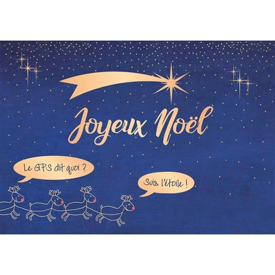 Carte Postale Noël : Joyeux Noël, Le GPS dit quoi ? suis l'étoile !