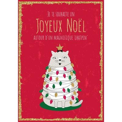 """Carte Postale Noël : Je te souhaite un joyeux noël autour d'un magnifique """"chatpin"""""""