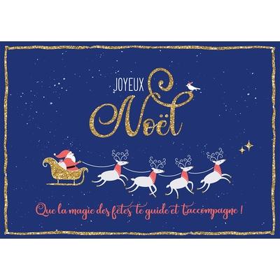 Carte Postale Noël : Joyeux Noël, Que la magie des fêtes te guide et t'accompagne !
