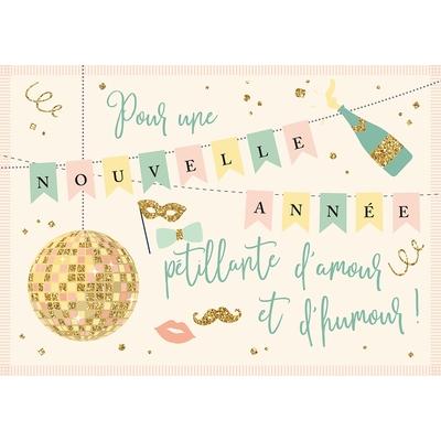 Carte Postale Bonne Année : Pour une nouvelle année pétillante d'amour et d'humour !