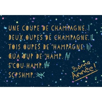 Carte Postale Bonne Année : Une coupe de champagne, deux oupes de champagne...