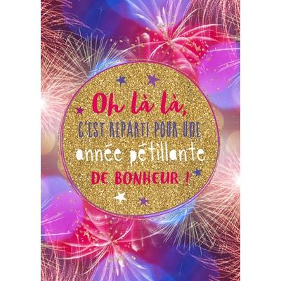 Carte Postale Bonne Année : Oh là là, C'est reparti pour une année pétillante de bonheur !