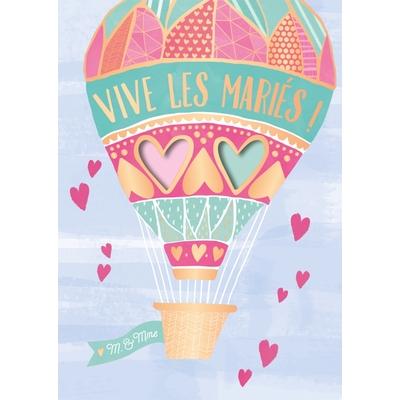 Carte postale Musicale : Vive les mariés! M. & Mme